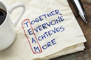 TEAM acronym (together everyone achieves more), teamwork motivat